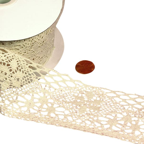 "Ivory Cotton Lace Trim - 2-1/4"" X 10 Yards - Ribbon by Paper Mart"