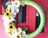 Door Wreath: Daisies Sunflowers, Rose Yellow And White Lattice Green And White Satin Ribbon 20 Inch Dcor Door Wreaths