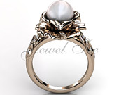 14k rose gold white pearl diamond unusual unique floral engagement ring, bridal ring, wedding ring ER10443