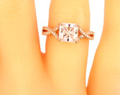 14K Rose Gold Diamond Asscher Cut Diamond Center Stone Antique Engagement Ring Promise Ring Classic Infinity Ring Yellow Gold White Gold 18K