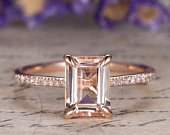 Morganite engagement ring with diamond Solid 14k Rose gold bridal ring stackable wedding ring 6x8mm Emerald cut gem custom made fine jewelry
