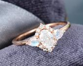 Oval cut Moissanite engagement ring vintage rose gold Unique pear shaped moonstone Cluster Halo Diamond wedding Anniversary Gift for woman
