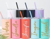 Personalized Skinny Tumbler with Lid and Straw Personalized Tumbler Custom Insulated Wedding Bridesmaid Tumbler Gift Bacheroette Party Favor