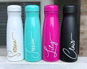 Personalized Stainless Steel 17oz ONE Color Water Bottle, Personalized tumbler, Wedding Favors, Bridesmaid Proposal, Bridesmaid Gift