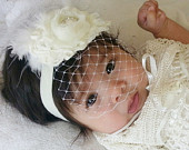Baptism Headband with Birdcage Veil Christening hair clip Preemie size available