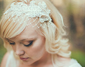 Ready to Ship, Champagne, white, or Ivory Birdcage Veil with Merry Widow Netting Lace Ivory Birdcage Veil, Ivory Bridal Headband 120BC