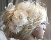 Handmade Ivory Silk organza flowers hair clip and birdcage veil vail ( 2 items) wedding reception bridal party