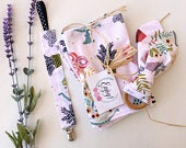 Baby Girl Gift Set Pink Plant Earth Love Burp Cloth Set, Wooden Teething Ring, Pacifier Clip Baby Shower Gift Newborn Baby Gift