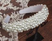 Pearl headband for wedding hair accessories Wide jeweled headband White tiara for bridesmaids Spring diadem Prom dolce pearls headband