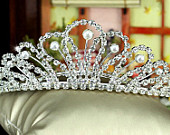 Exquisite Bridal White Faux Pearl Crystal Tiara Comb (493)