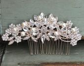Crystal and Freshwater Pearl Hair Comb, Floral Rose Gold Wedding Comb, Swarovski Crystal Headpiece, Vintage Bridal Side Comb, CO010