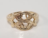 Ring Size 6 Estate 10k Yellow Gold Monogram English Letter S Capital Initial Ring Band GR121