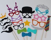Fun Wedding Photo Booth Props Normal and Oversized for a Fun and Silly Photo Booth Experience at your next event
