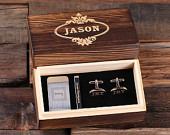 Personalized Gentlemans Gift Set Cuff Links, Money Clip, Tie Clip Groomsmen, Fathers Day and Dad Men Boyfriend Christmas (025276)