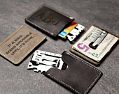 Personalized MultiTool Distressed Leather Slim Wallet Money Clip by Left Coast Original