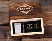 Personalized Gentlemans Gift Set Cuff Links, Money Clip, Tie Clip Groomsmen, Fathers Day and Dad Men Boyfriend Christmas (025332)