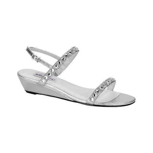 Women's Dyeables Jasmine Wedge Sandal, Size: 7 W, Silver Shimmer