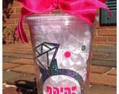 Engagement/ Bridal/Wedding Bling Tumbler, cup for bride, Feyone cup, wedding tumbler