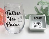 Engagement Gift For Her, I Said Yes Wedding Ring dish, Bride To Be, Future Mrs glass, Bridal Shower Gift, Newly Engaged, Engagement party