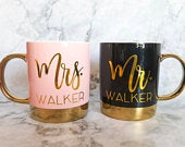 Mr and Mrs Coffee Mugs, Engagement Mugs, Engagement Coffee Mug, Mrs. Coffee Cup, Mr. Coffee Cup, Wedding Gift Mug, Wedding Mugs,
