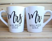 Mrs Coffee Mug, Mr Coffee Mug, Engagement Mugs, Engagement Coffee Mug, Mrs. Coffee Cup, Mr. Coffee Cup, Wedding Gift Mug, Wedding Mugs,
