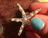 Gold Starfish hair clip pearl rhinestone ocean wedding beach bride sea life updo hairstyle accessories starfish clip/pin