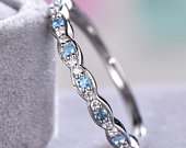 Blue Topaz Wedding Band CZ Diamond 14k White Gold 925 Sterling Silver Unique Art Deco Marquise Stacking Bridal Anniversary Gift Promise Ring