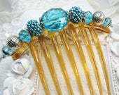 Stunning Austrian Crystal Turquoise and Art Beads French Hair comb, Mother of the Bride comb, Wedding comb, French comb, Large comb