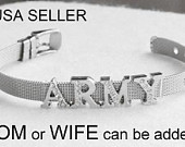 ARMY MOM Bracelet Military Wholesale Stainless Steel Mesh Silver