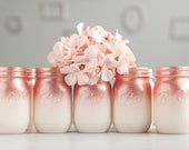 12 Rose Gold and Ivory Ombre Centerpiece, Rose Gold Home Decor, Ombre Mason Jars, Rose Gold Wedding Decor