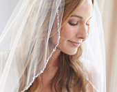 Wedding Veil, 1 Layer, Crystal Wedding Veil, Pearl Bridal Veil, Ivory Wedding Veil, Elbow Veil, Fingertip Veil, Cathedral Veil VB5004