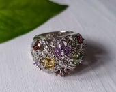 Silver Vintage MultiColored Gemstone Colored Statement Ring, Size 7 Silver Antique Ring, Mother Ring