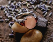 Silver Vintage Pink Opal Colored Statement Ring, Size 9 Silver Antique Pink Ring, Mother Child Ring