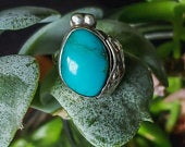 Silver Vintage Blue Turquoise Color Bezel Set Square Statement Ring, Size 6.75 Silver Antique Blue Ring, Mother Child Ring
