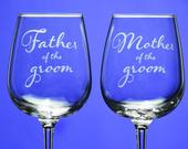 Father of the Groom and Mother of the Groom wine glass set stemmed or stemless Engagement Gift Wedding Gift gift for parents