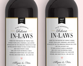 In Law Wine Labels Wedding Thank You Gift Parents of the Bride and Groom Mother in Law Father in Law Gift Thank You