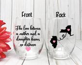 Mother Daughter Wine Glass, Distance Wine Glass, Mothers Day Gift, Daughter Gift, Mother Gift, Mom Birthday Gift From Daughter