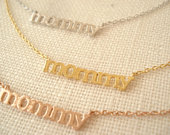 Tiny mommy necklace..Gold, Silver or Rose gold pendant, Simple everyday, Minimalist, soon to be mom, pregnant gift, new mom, mothers gift