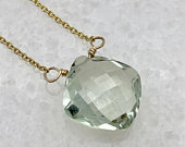Green Amethyst Necklace, Gold Filled, Dainty Necklace, Everyday Necklace, Cushion Cut, Gemstone Necklace, Mothers Gift, Wife Gift