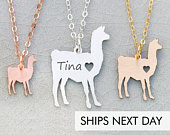 Llama Necklace Pet Llama Gift Farm Animal Personalized Pet Funny Gift Alpaca Farm Gift Engraved Name Pet Unique Gag Gift Mothers Day Gift