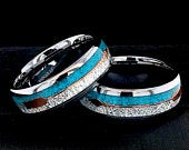 Turquoise Rings, Matching Ring Set, Wedding Bands, Tungsten Ring for Women, Mens, Meteorite Ring, Engagement Ring, Promise Ring His and Hers