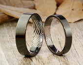 Your Actual Finger Print Rings, His and Her Promise Rings Black Wedding Titanium Rings Set