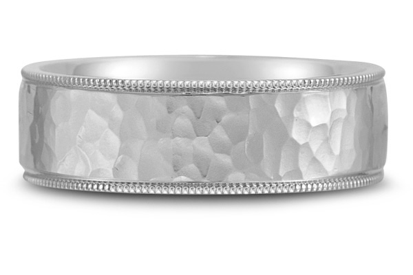 Platinum Flat Hammered Wedding Band