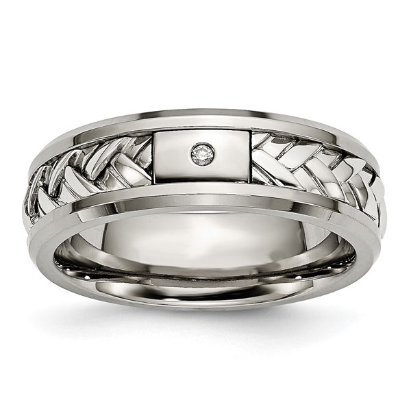 Men's Titanium and Silver Woven Wedding Band Ring with Diamo