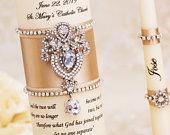 Wedding Unity Candle Set Champagne Wedding Candles Personalized Candles for Wedding