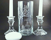 Wedding Unity Candle Vase with Names of the Bride and Groom and Wedding Date