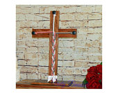 Large Standing Wood Cross, 22x13, A Cord of Three Strands Is Not Easily Broken, Unity Braids, Ceremony Alternative, Wedding Rope Ceremony