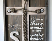 Wedding Unity Ceremony Braid w/Ecclesiastes 4:12 scripture and Personalized Names/Dates (Gray Whitewashed)