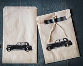 Kraft Bags Merchandise Gift Food Wedding Favor Bags Vintage Car design, New Years Eve Guest Bags, Black Tie Event Favors