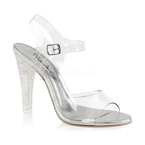 Women's Fabulicious Clearly 408MG Ankle-Strap Sandal, Size: 8 M, Clear Lucite
